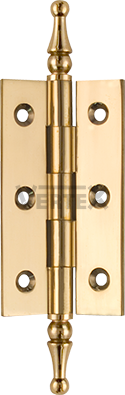 Narrow Range Cabinet Hinges - Steeple tips, Polished brass (lacquered)