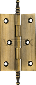Standard Range Cabinet Hinges - Steeple tips, Antique Brass