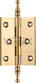 Standard Range Cabinet Hinges - Steeple tips, Polished Brass (lacquered)